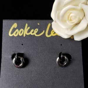 Pewter Tone Mini Hoops Pierced Earrings